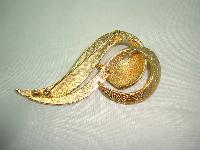 Vintage 50s Amazing Large Stylised Swirl Gold Marcasite Brooch Quality