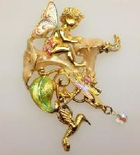 Signed Kirks Folly Moonflower Fairy Enamel and Crystal Pendant Brooch