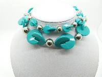 £12.00 - Unusual and Stylish Turquoise and Silver Plastic Bead Long Necklace 76cms