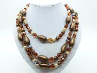 £45.00 - Vintage 50s Three Row Brown Moonglow and AB Crystal Glass Bead Necklace
