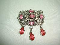 1950s Signed Jewelcraft Ornate Pink Diamante Necklace Brooch Earrings
