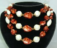 £24.00 - 1950s Chunky 3 Row Marble Brown & Pearl Bead Necklace