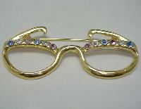 £11.00 - Vintage 80s Diamante Dame Edna Spectacles Brooch FUN!