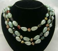 £24.00 - Vintage 50s 3 Row Faux Pearl Green Glass Bead Necklace