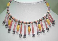 £27.00 - 1960s Pink and Grey Glass and Wood Bead Drop Flexible Choker Necklace