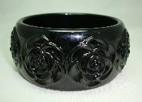 £14.00 - Fabulous Chunky Wide Black Carved Roses Plastic Bangle Statement Piece