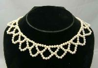 £14.00 - 1950s Faux Pearl Bead Scallop Drop Choker Necklace